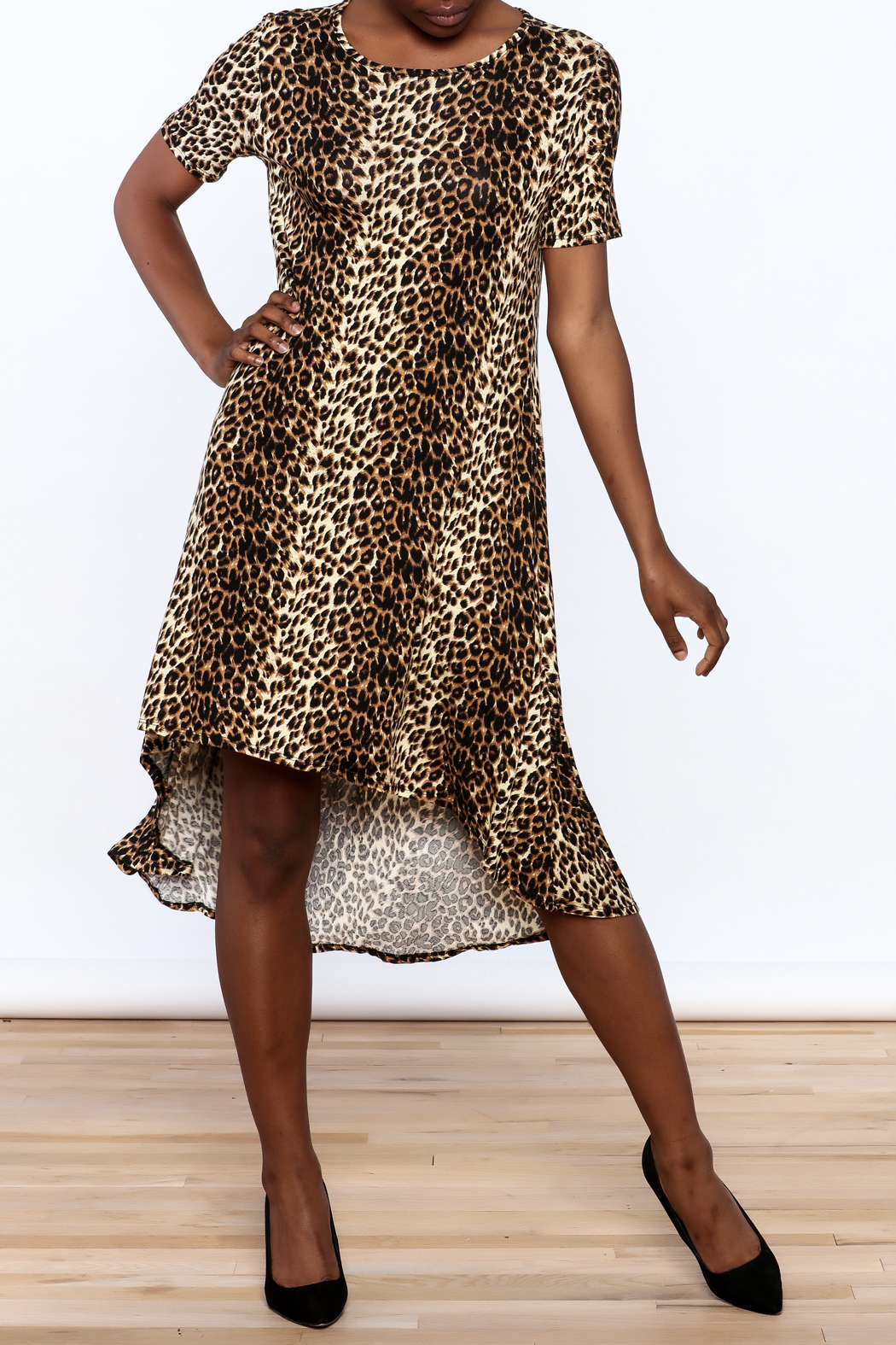 Solo La Fe  Cheetah High Low Dress - Front Full Image