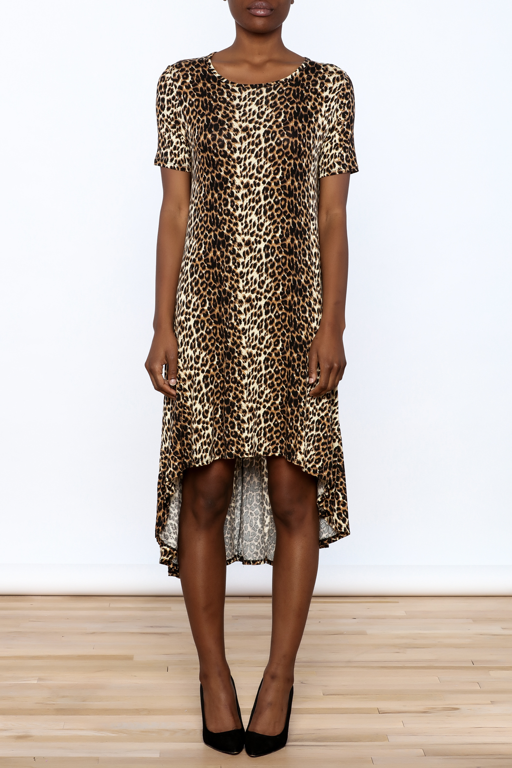Solo La Fe  Cheetah High Low Dress - Front Cropped Image
