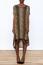Solo La Fe  Cheetah High Low Dress - Front cropped