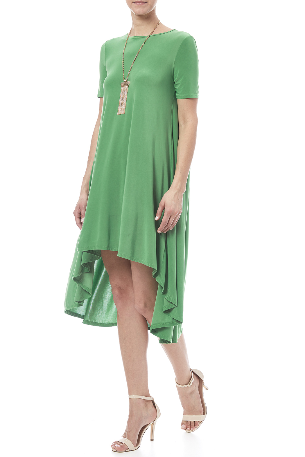 Solo La Fee Emerald High Low Dress - Front Full Image