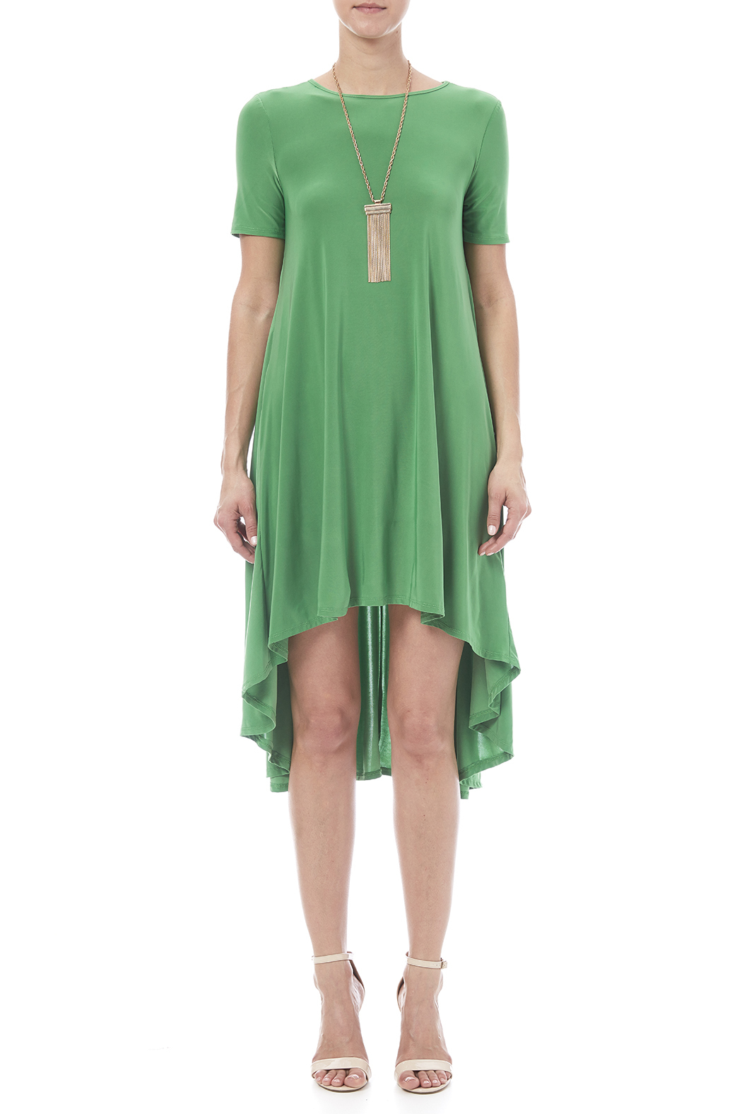 Solo La Fee Emerald High Low Dress - Front Cropped Image