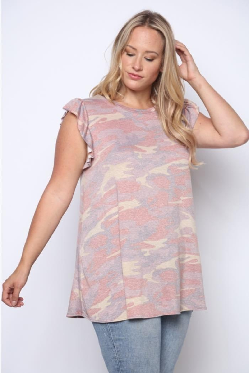 Solo Fashion New York Army Top Pink Plus Size - Main Image