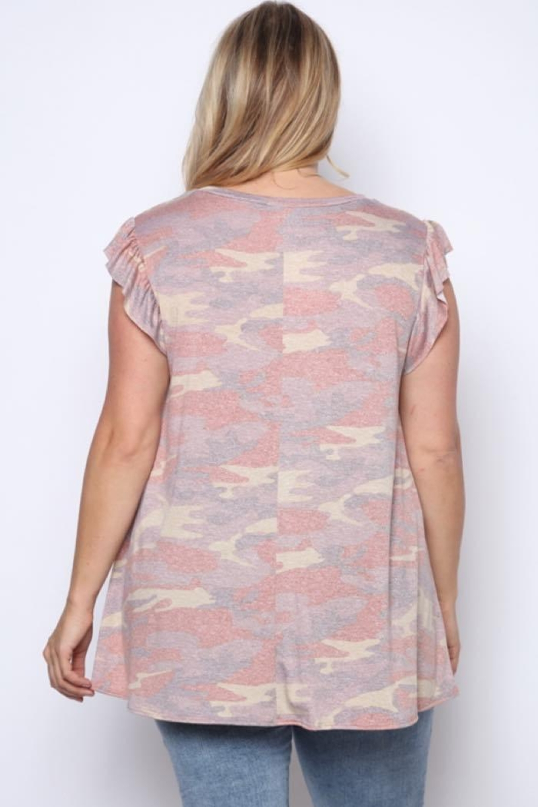 Solo Fashion New York Army Top Pink Plus Size - Front Full Image