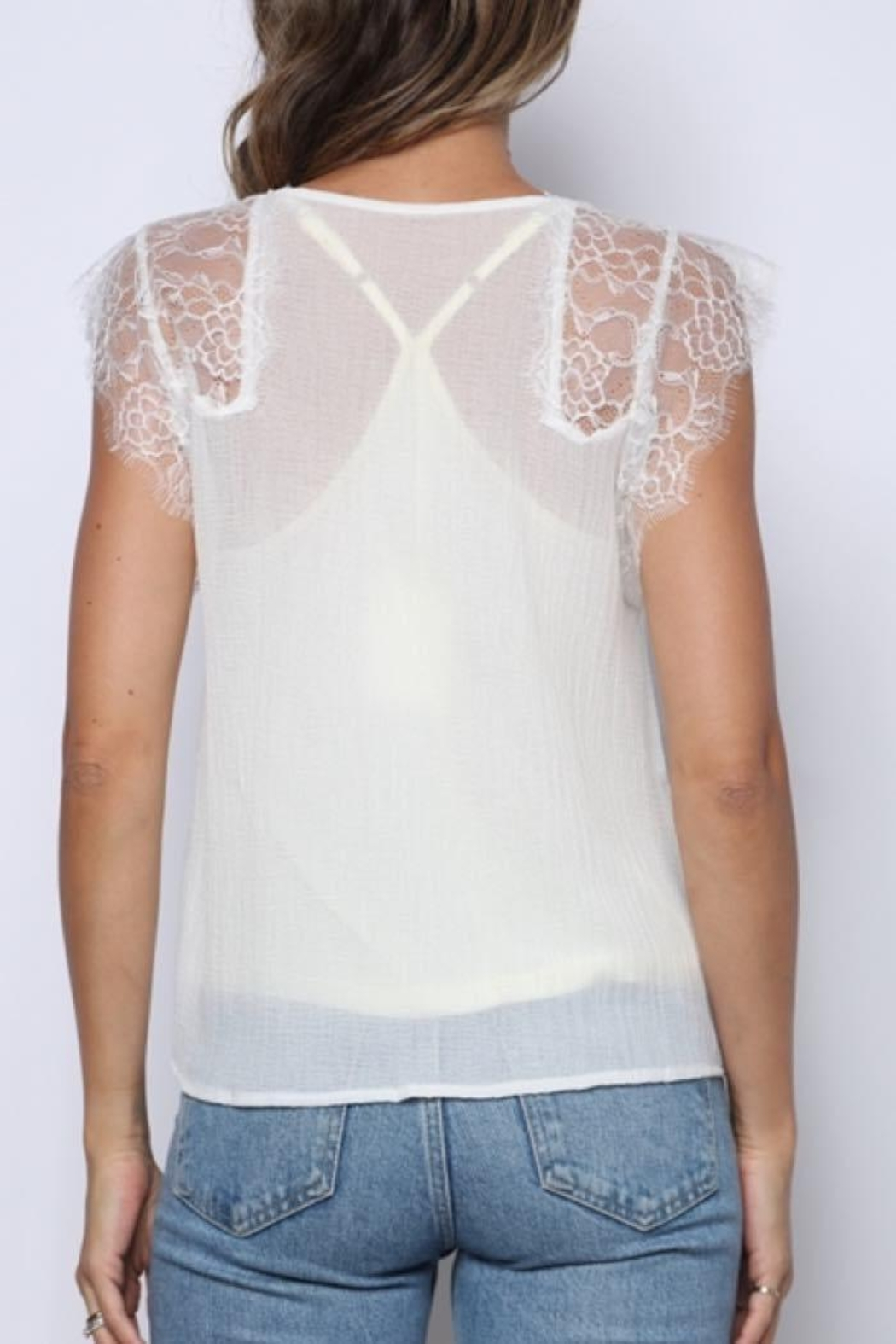 Solo Fashion New York Ivory Lace Tank Top Lining Top - Back Cropped Image