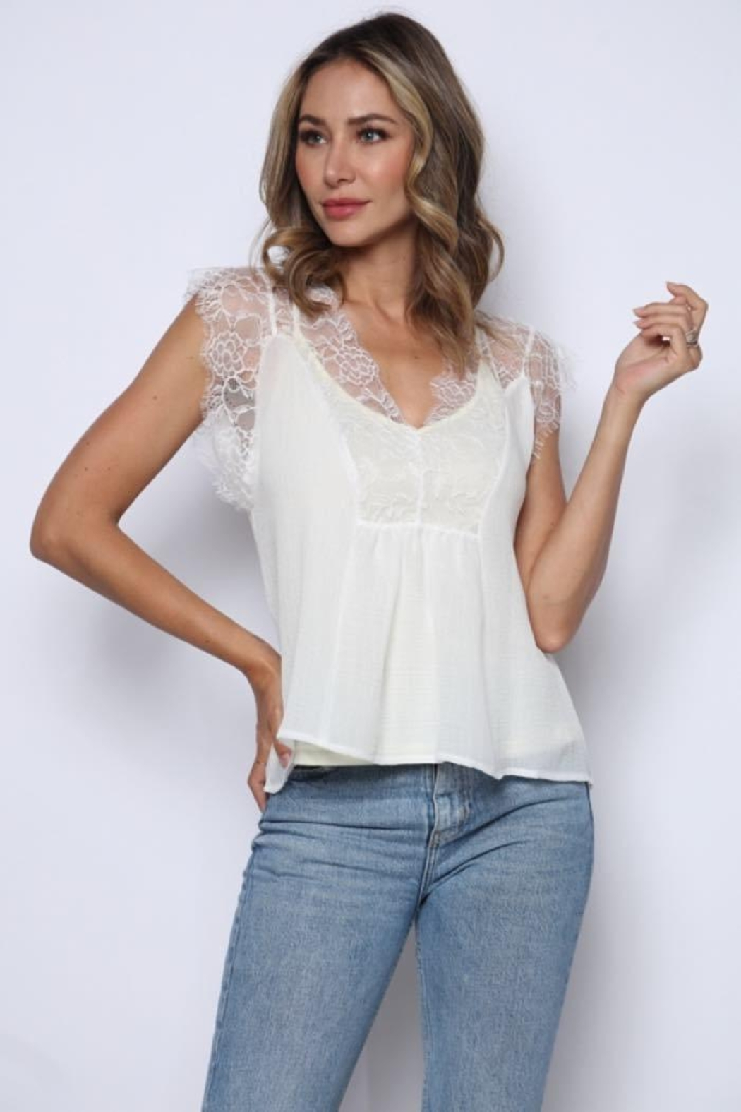 Solo Fashion New York Ivory Lace Tank Top Lining Top - Main Image