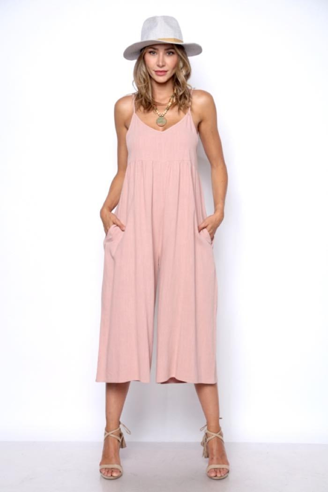Solo Fashion New York Pink Jumpsuit - Front Cropped Image