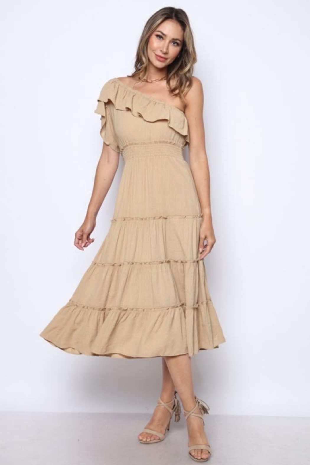 Solo Fashion New York Taupe Ripple Textured One-Shoulder Midi Dress - Front Full Image