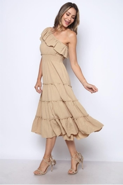 Solo Fashion New York Taupe Ripple Textured One-Shoulder Midi Dress - Product List Image