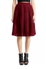 Soloiste Burgundy Lace Skirt - Product Mini Image