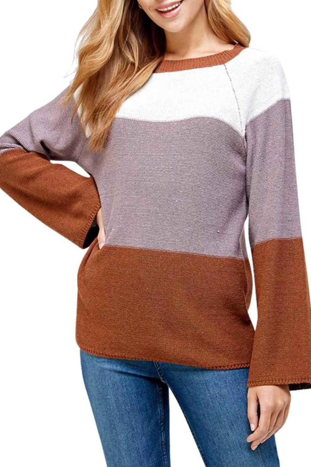 Solution Brown Colorblock Sweater - Front Full Image