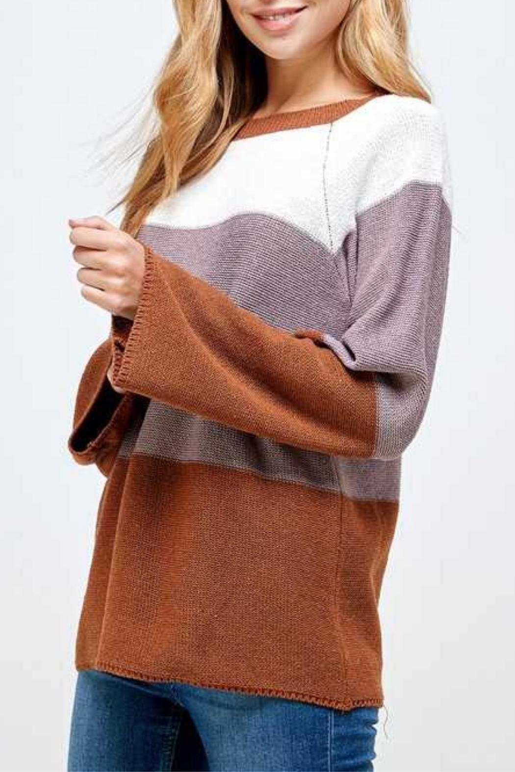Solution Brown Colorblock Sweater - Main Image