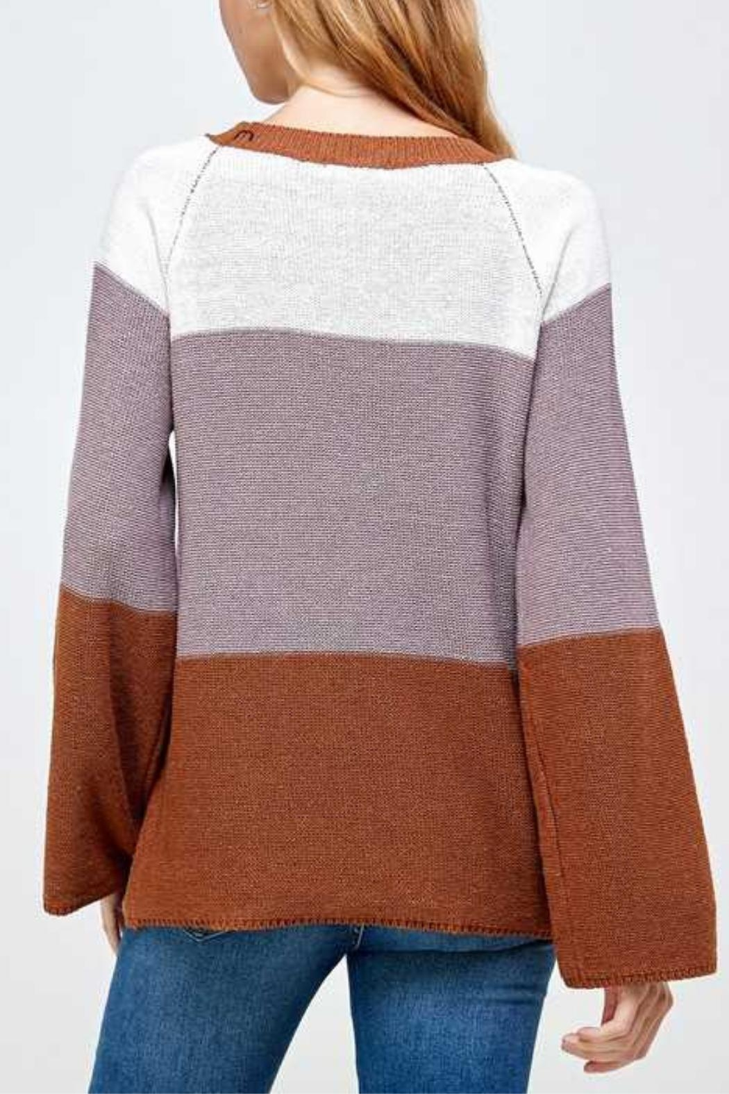 Solution Brown Colorblock Sweater - Back Cropped Image