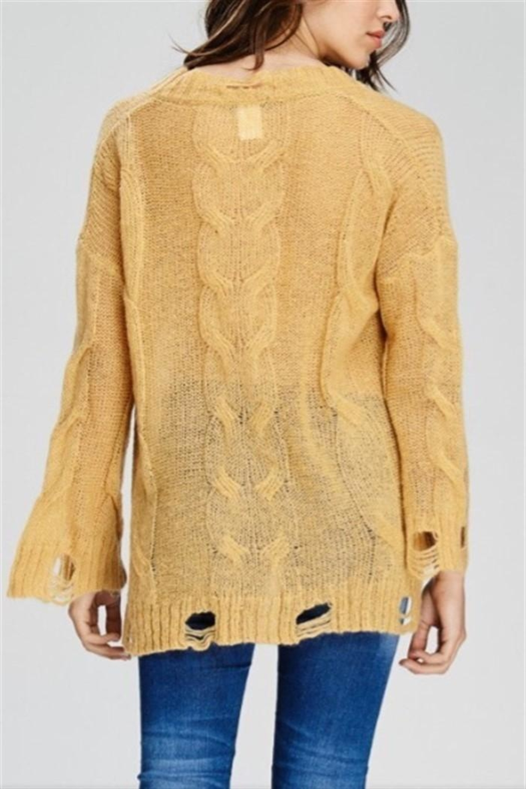 Solution Mustard Distressed Sweater - Front Full Image