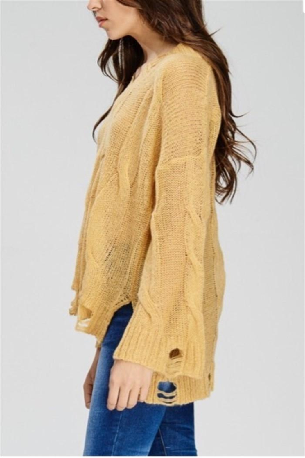 Solution Mustard Distressed Sweater - Side Cropped Image