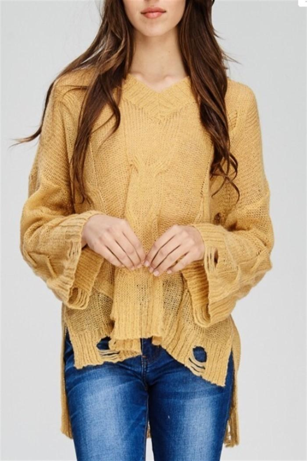 Solution Mustard Distressed Sweater - Main Image