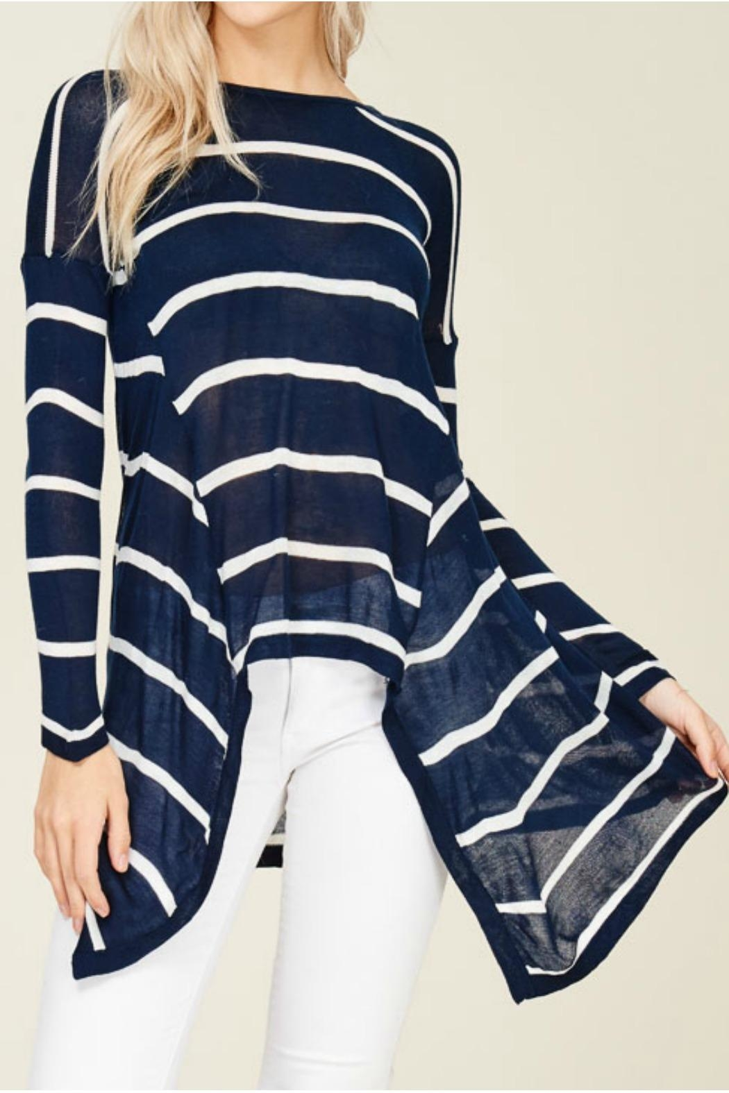 Solution Navy Stripe Top - Front Full Image