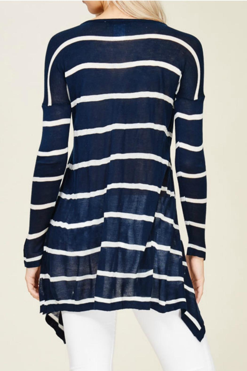 Solution Navy Stripe Top - Back Cropped Image