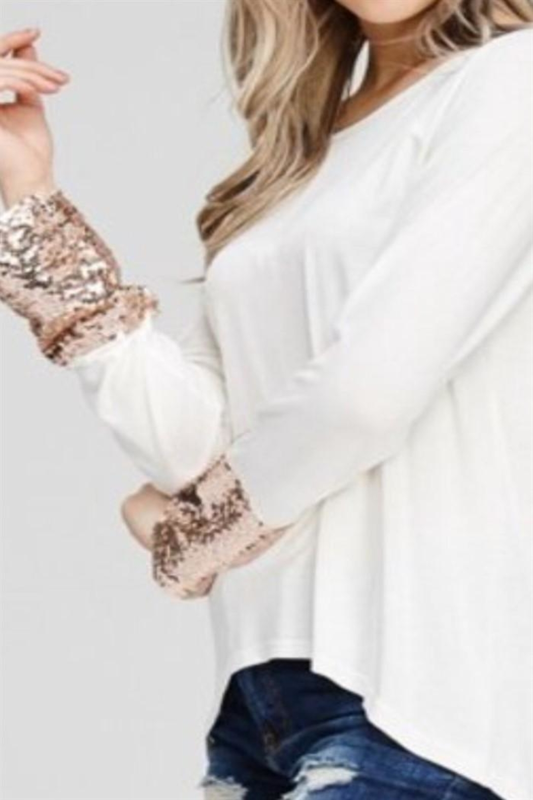 Solution Sequin Cuff Top - Front Full Image