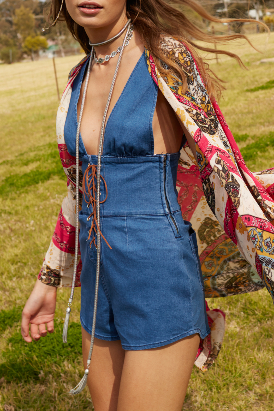 Somedays Lovin Jerry Denim Playsuit - Front Full Image