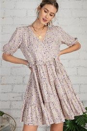 Easel  Purple Floral Dress - Front full body