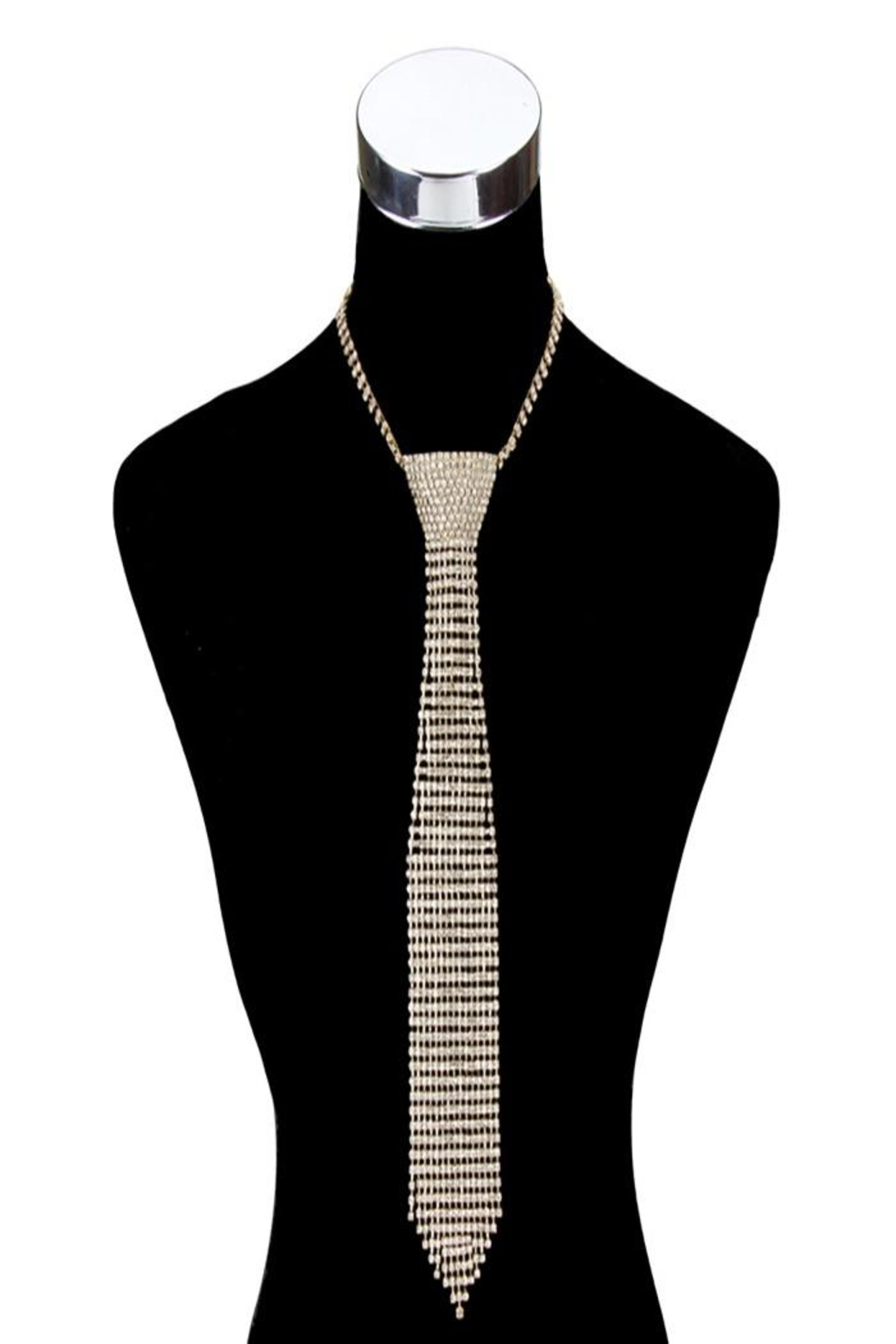 Something Special Long Rhinestone Tie Necklace - Main Image