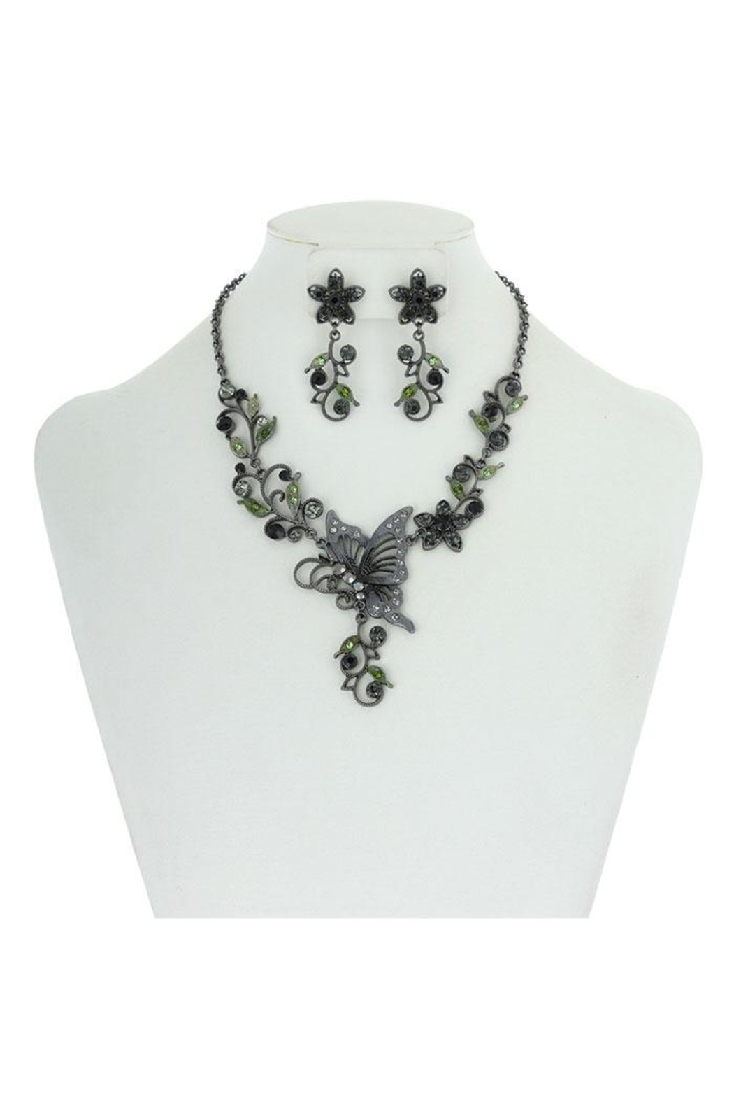 Something Special Metal With Stones Butterfly & Flowers Necklace Set - Main Image