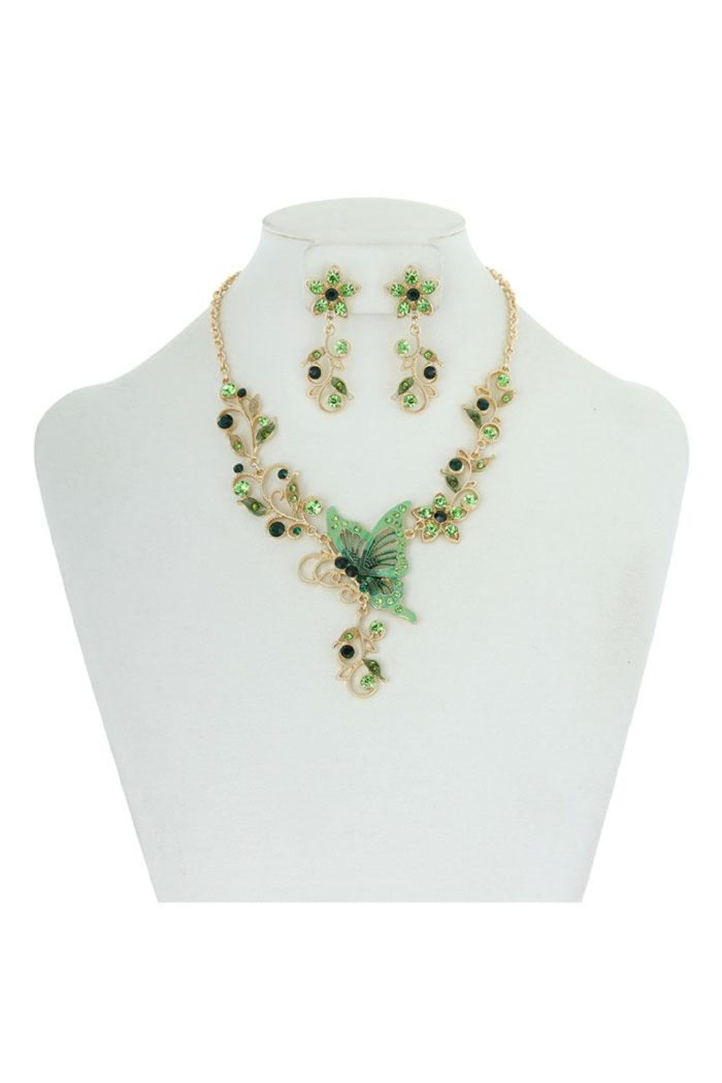 Something Special Metal With Stones Butterfly & Flowers Necklace Set - Front Cropped Image