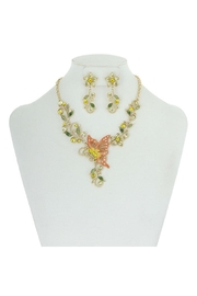 Something Special Metal With Stones Butterfly & Flowers Necklace Set - Front cropped