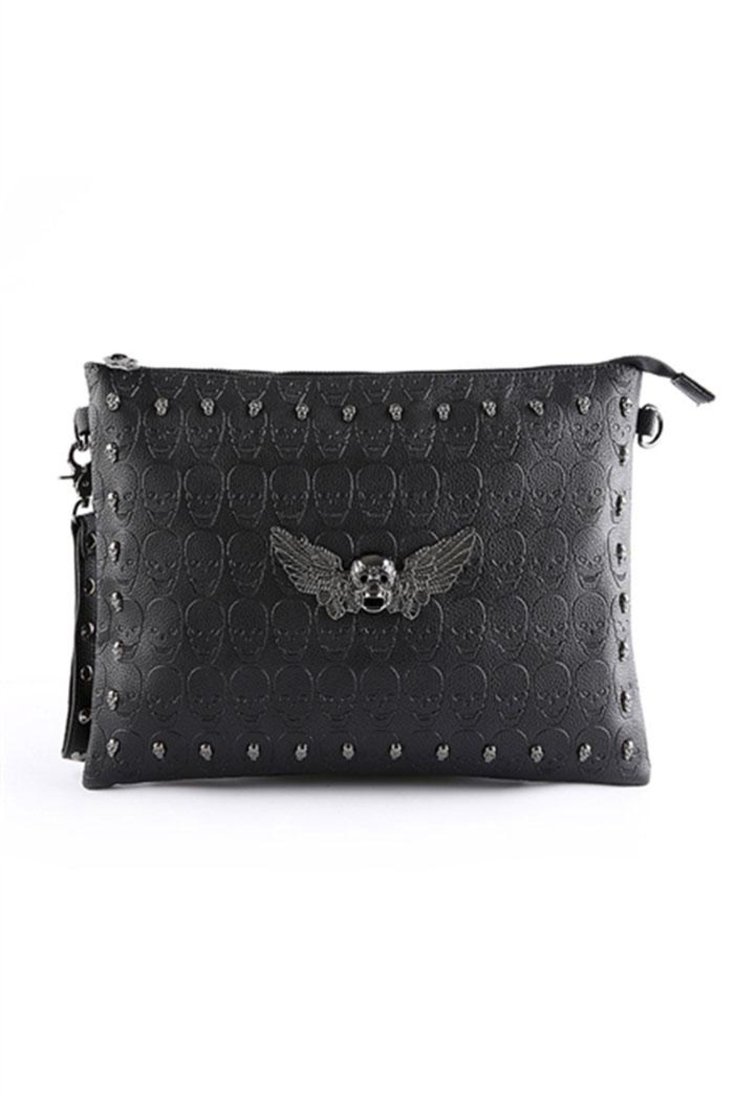 Something Special Skull Rivet Faux Leather Clutch - Main Image