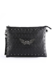 Something Special Skull Rivet Faux Leather Clutch - Front cropped