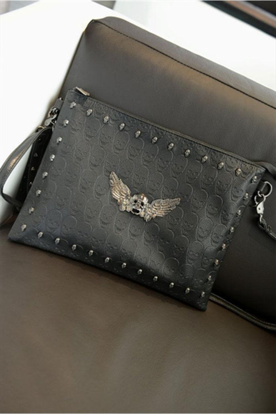 Something Special Skull Rivet Faux Leather Clutch - Side Cropped Image