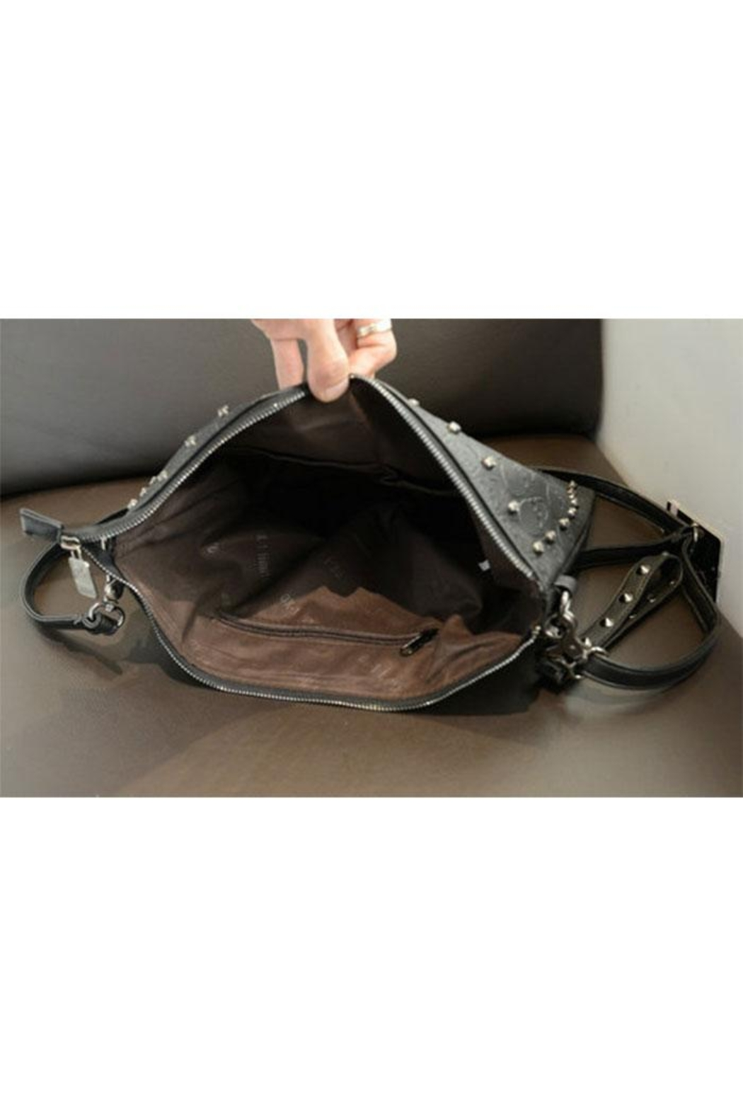 Something Special Skull Rivet Faux Leather Clutch - Back Cropped Image