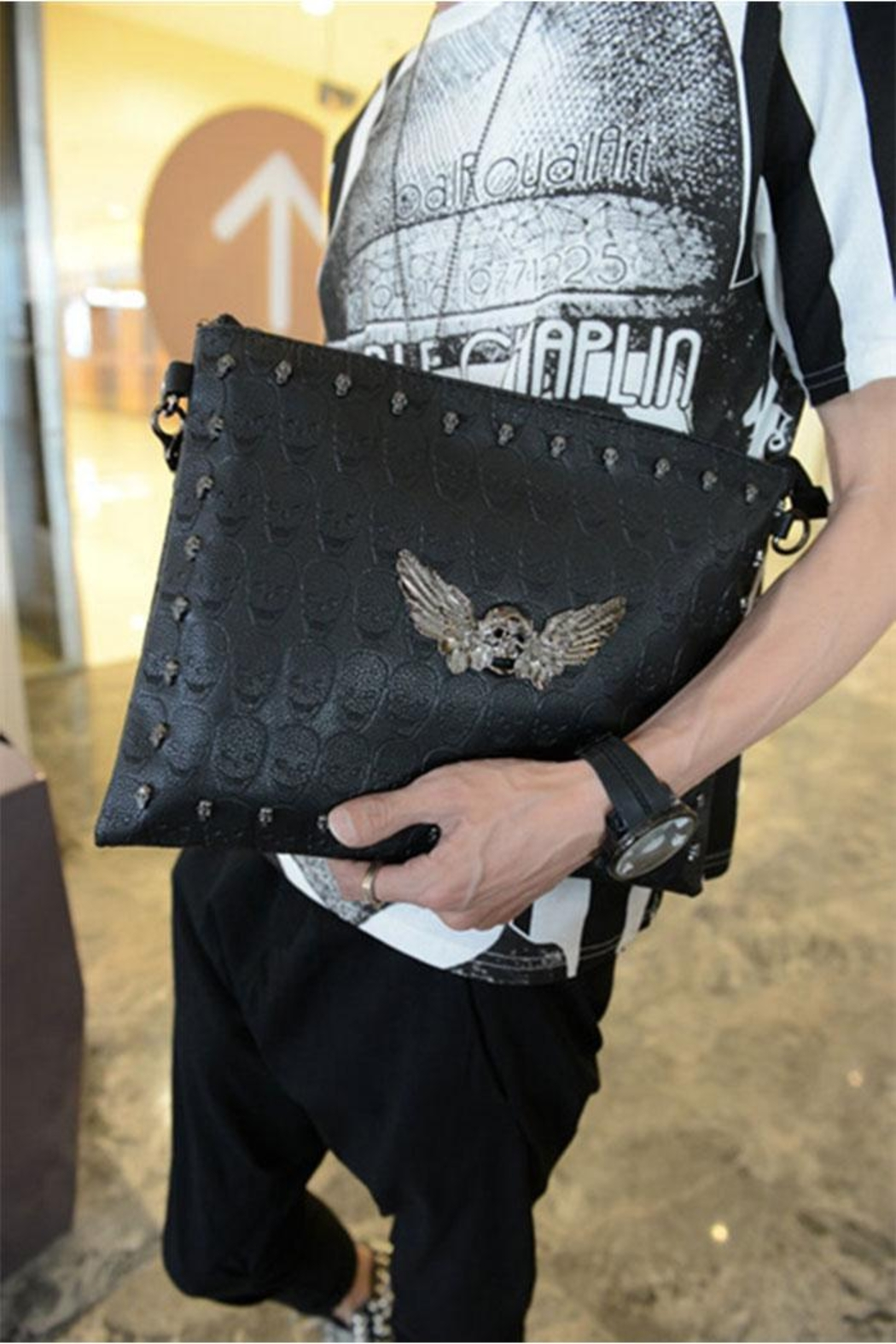 Something Special Skull Rivet Faux Leather Clutch - Front Full Image