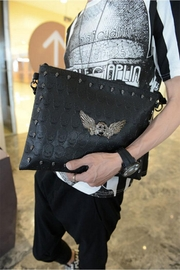 Something Special Skull Rivet Faux Leather Clutch - Front full body