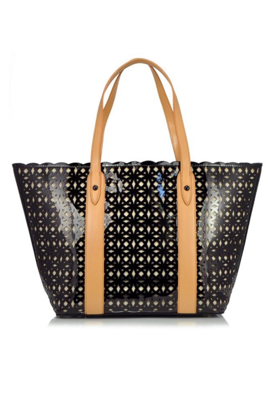 Sondra Roberts Perforated Patent Tote - Front Cropped Image