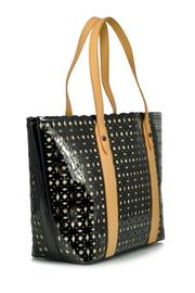 Sondra Roberts Perforated Patent Tote - Front full body