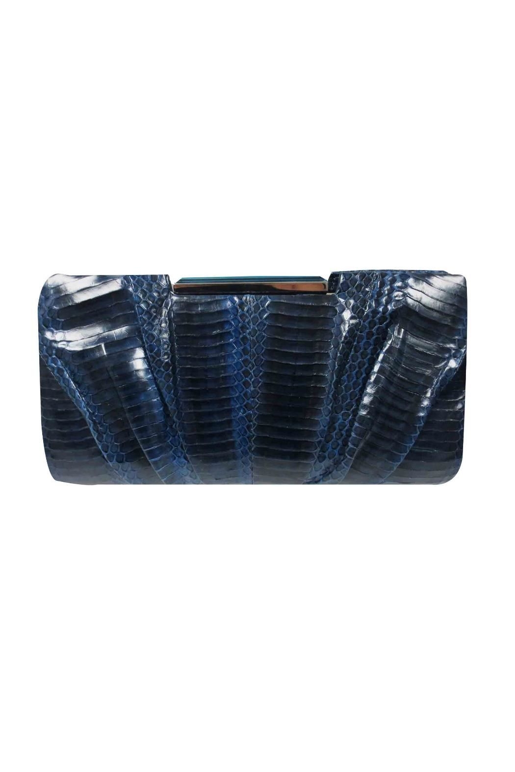 Sondra Roberts Pleated Snake Clutch - Front Cropped Image