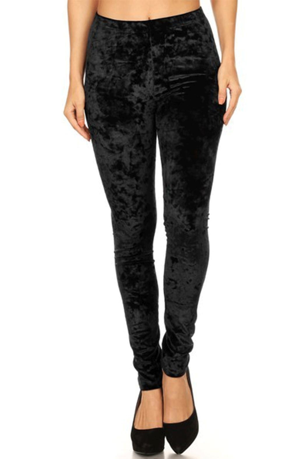 Song and Sol Soft Velvet Leggings - Front Cropped Image
