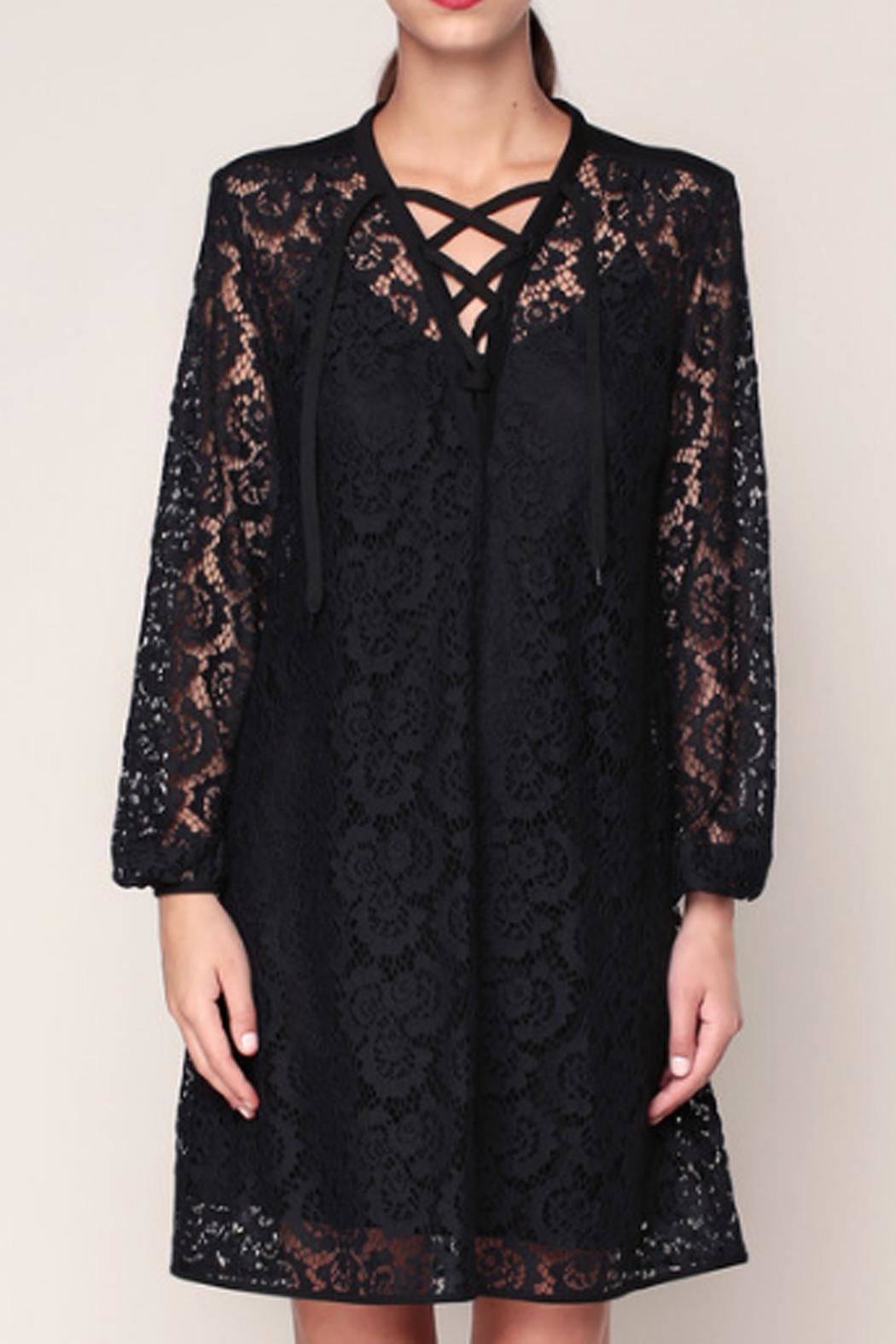 Sonia by Sonia Rykiel Black Lace Dress - Front Full Image