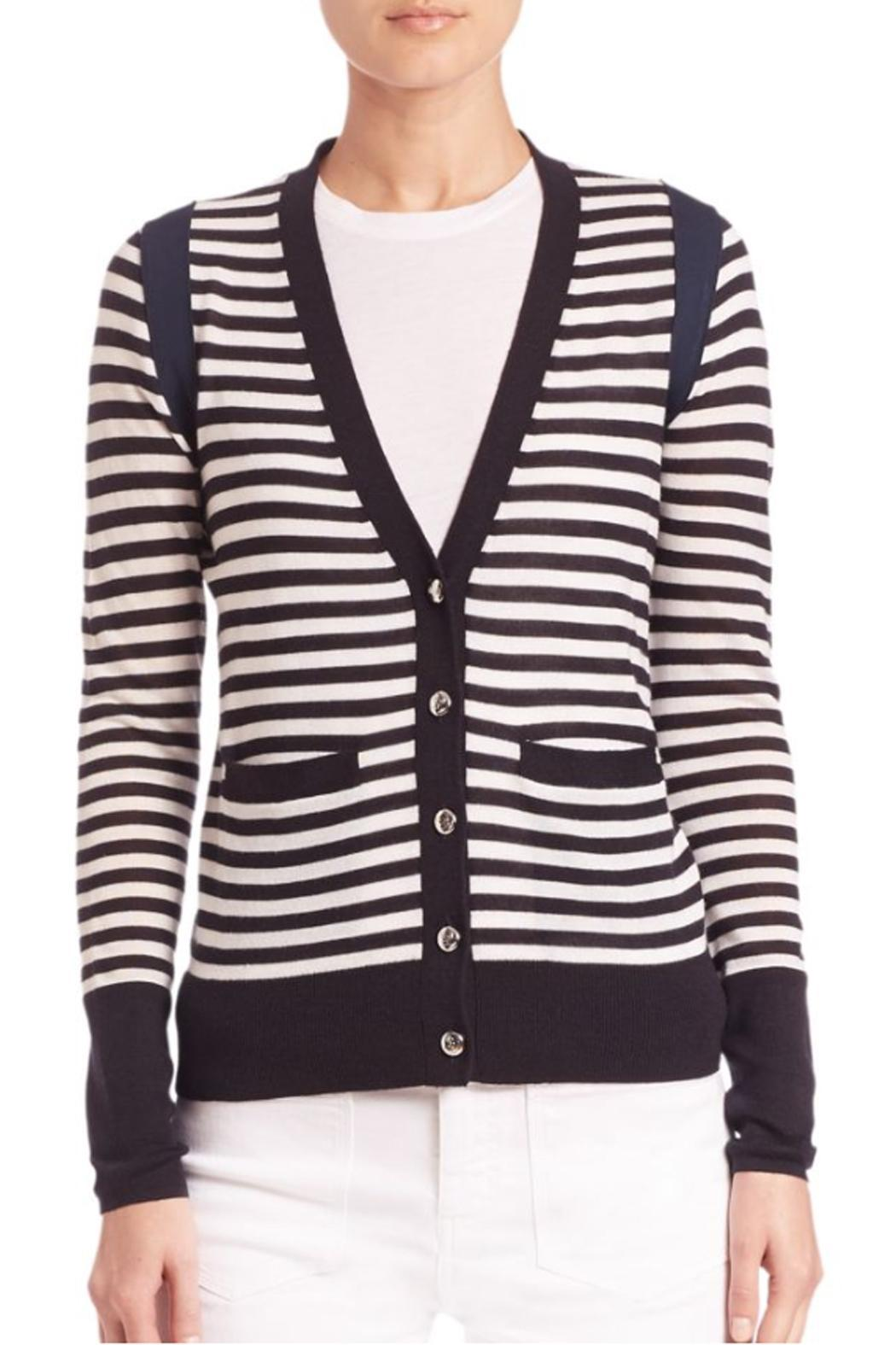 Sonia by Sonia Rykiel Striped Navy Cardigan - Front Full Image