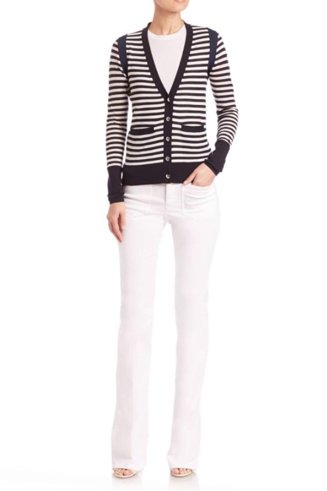 Sonia by Sonia Rykiel Striped Navy Cardigan - Front Cropped Image