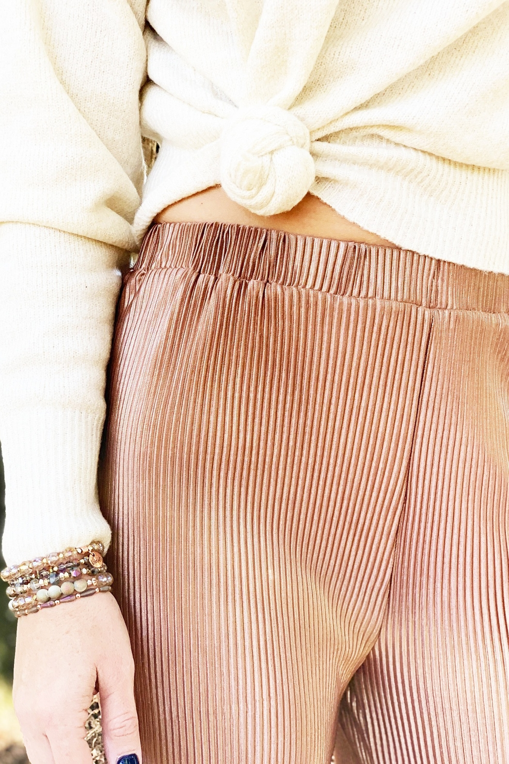 See and Be Seen Sophia Pleated Metallic Pant - Front Full Image