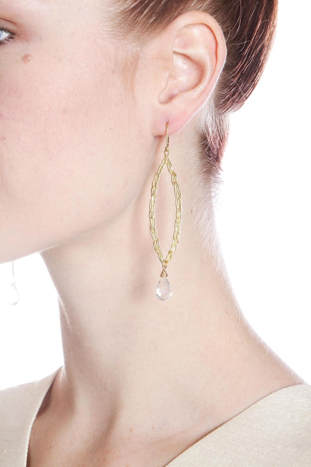 Sophia And Chloe Peace Olive Earrings Front Cropped Image