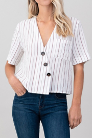 lunik Sophie Buttoned Stripe Top - Product Mini Image