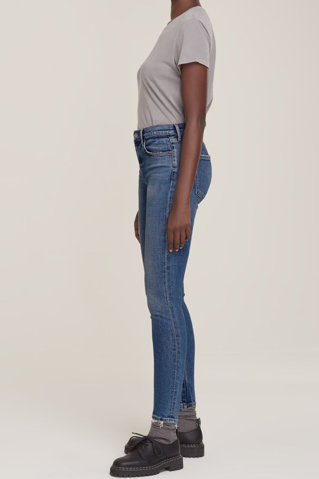 AGOLDE Sophie Mid Rise Skinny Ankle in Speedway - Front Full Image