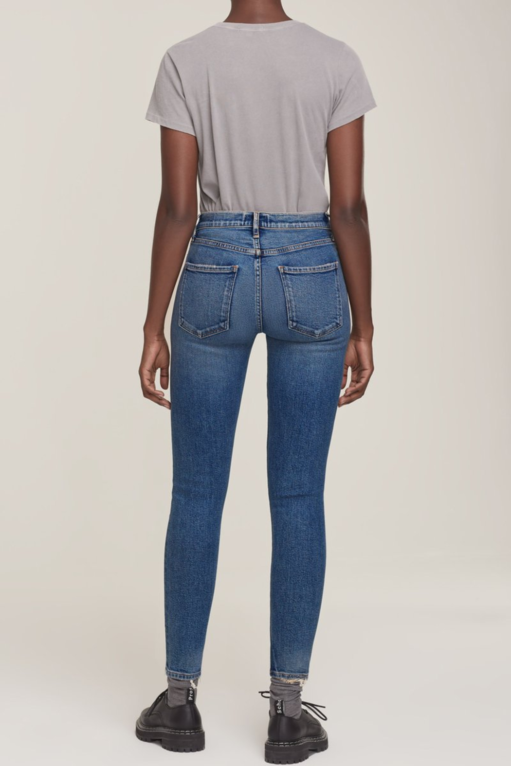 AGOLDE Sophie Mid Rise Skinny Ankle in Speedway - Side Cropped Image