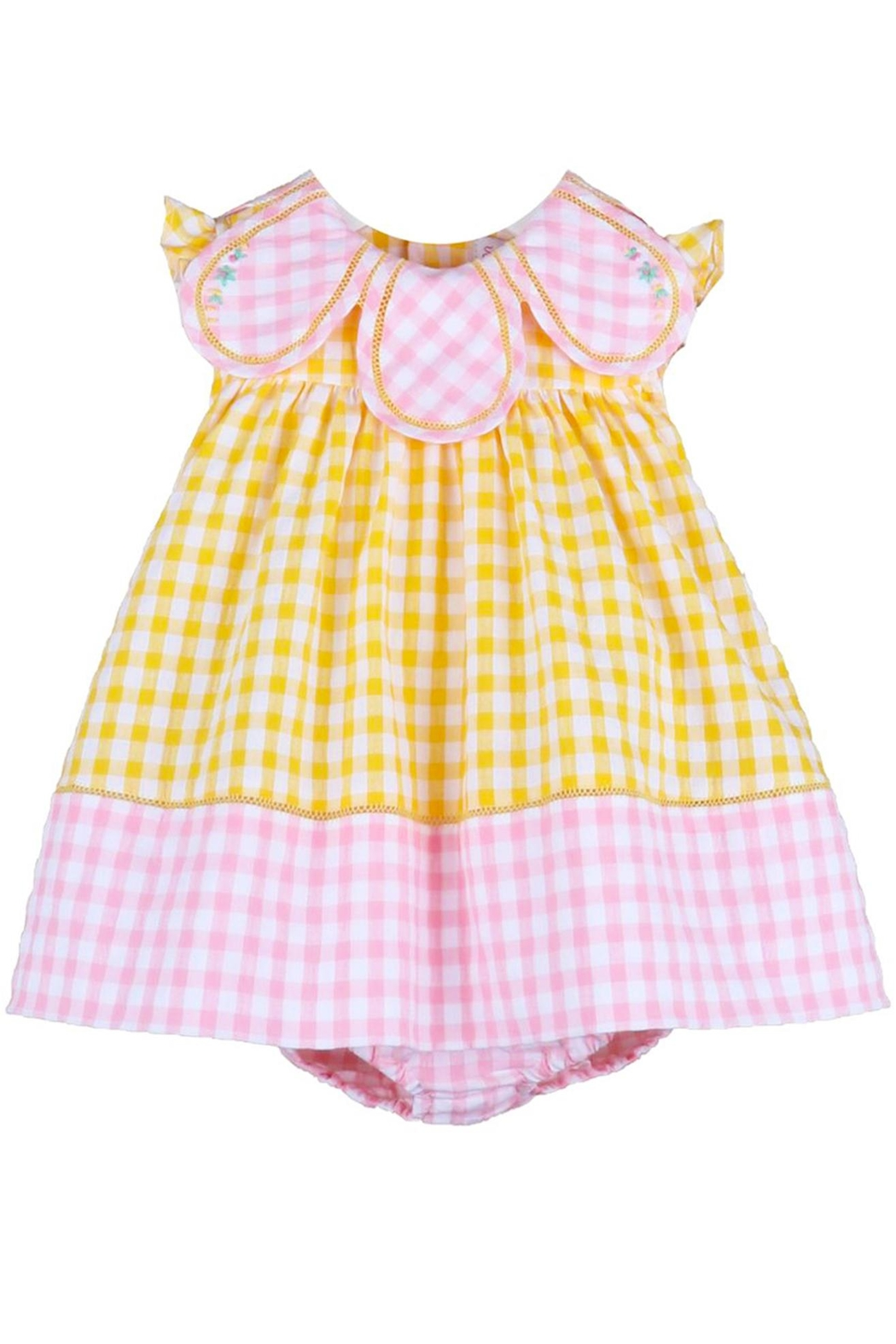 Sophie & Lucas Sunny-Chicks Pink-Yellow-Gingham Petal-Dress - Front Full Image