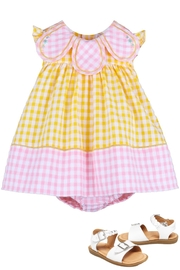 Sophie & Lucas Sunny-Chicks Pink-Yellow-Gingham Petal-Dress - Product Mini Image