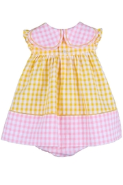 Sophie & Lucas Sunny-Chicks Pink-Yellow-Gingham Petal-Dress - Side cropped
