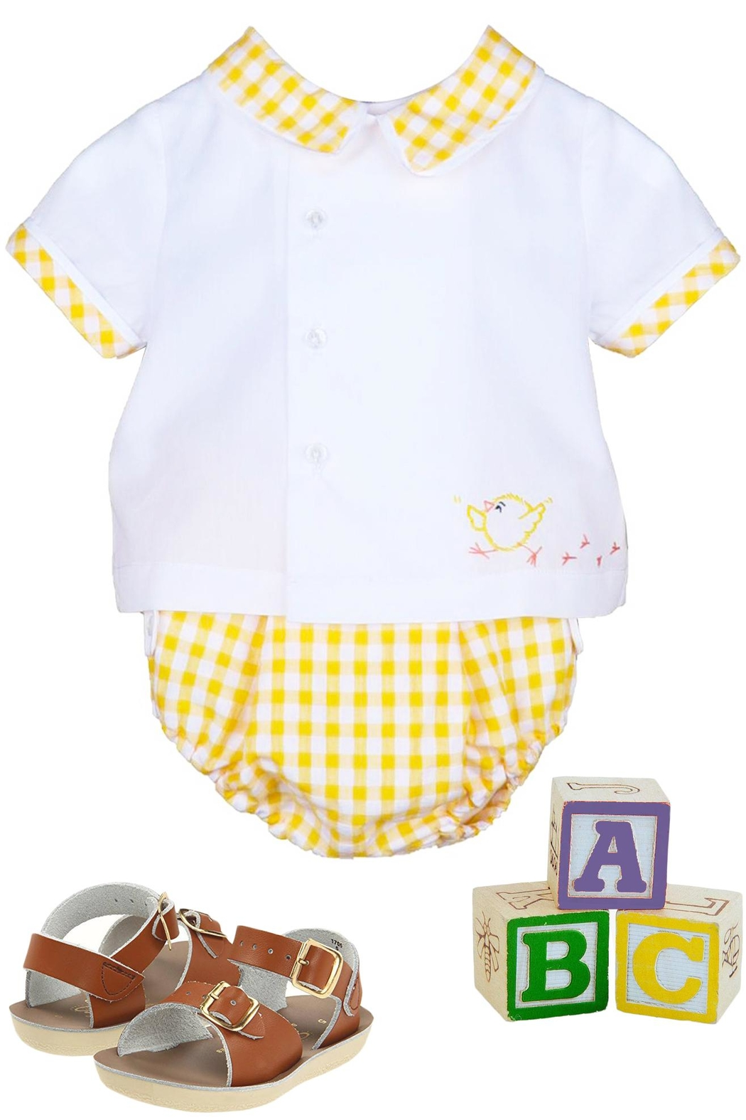 Sophie & Lucas Sunny-Chicks Yellow-Gingham Two-Piece-Set - Main Image